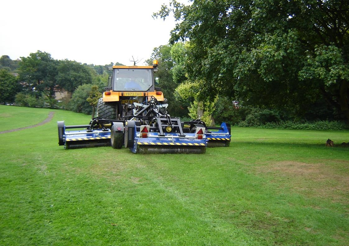 Ryetec Triflex gang flail mower has no problem following undulating ground without scalping
