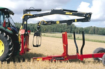 Ryetec forestry crane removed from trailer for independant use on 3 point linkage of tractor