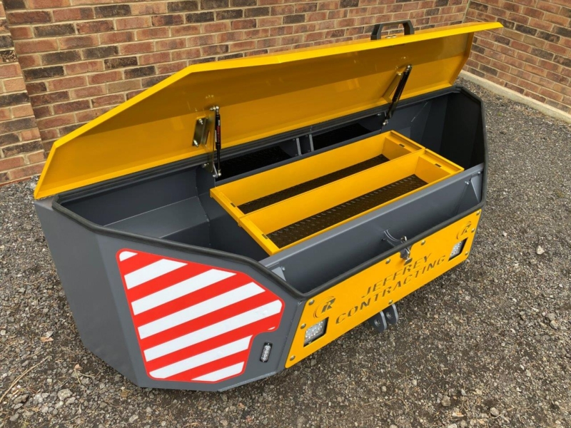 Yellow Workbox on JCB fastrac