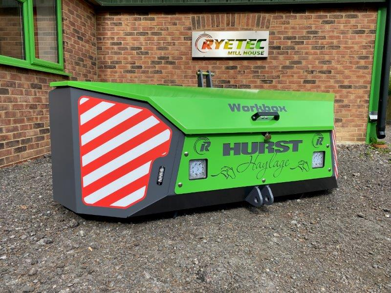 Ryetec workbox front linkage storage box in merlo green