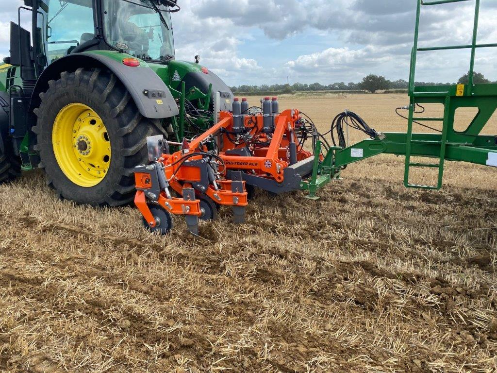 Ryetec ALD Restorer low disturbance sub soiler rear mounted with linkage for john deere 750A rear mounted direct drill.2